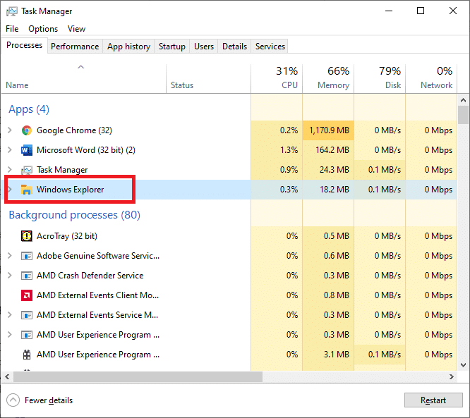 Locate the Windows Explorer process in the Processes tab   Fixed: Volume Mixer Not Opening