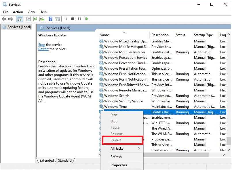 . Locate the Windows Update service and click Restart. The services are listed in alphabetical order.