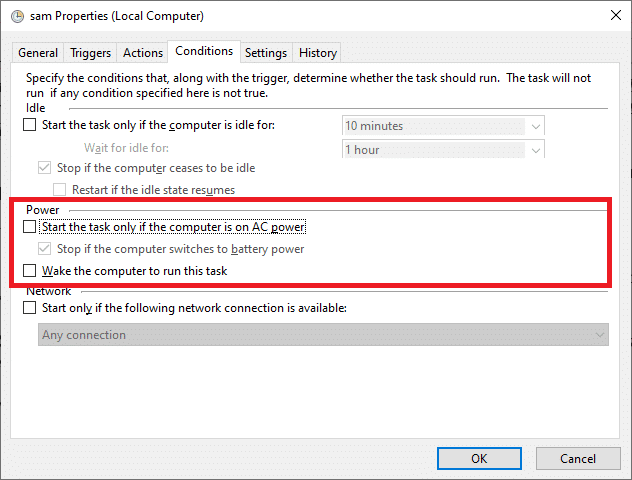 """Navigate to the Conditions tab and then deselect """"Start the task only if the computer is on AC power."""""""