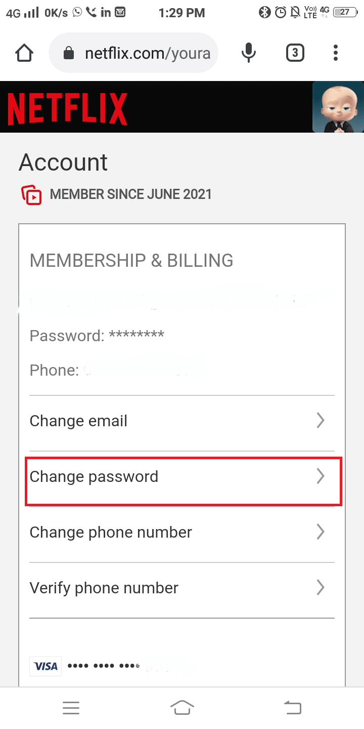 Netflix Account will be opened in a browser. Now, tap Change password as shown