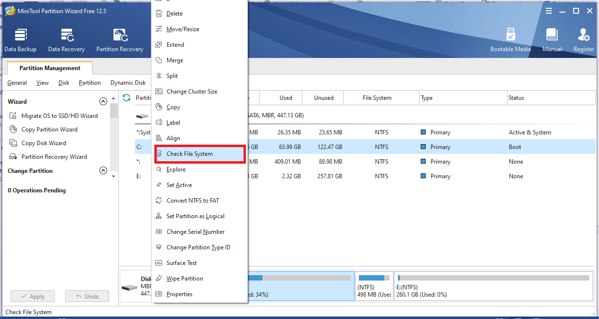 Now, right-click on any partition found on the middle pane and select the Check File System feature