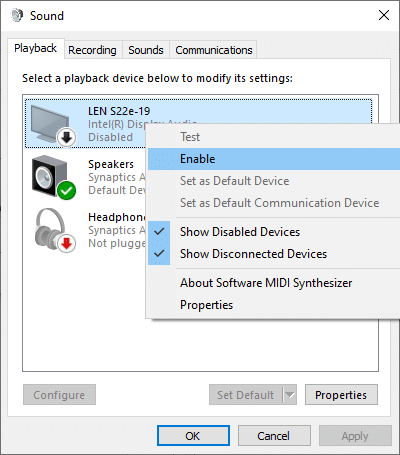 Now, right-click on the audio device and check if it is enabled. If it is disabled, click on Enable, as depicted in the below picture.