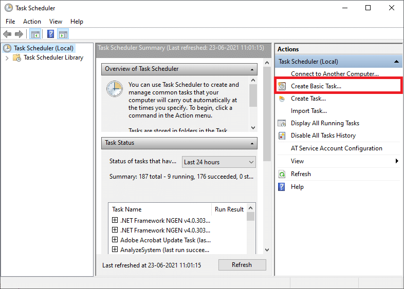 Now, the Task Scheduler window opens on the screen. Click on Create Basic Task | How to Create Windows 10 Sleep Timer on your PC