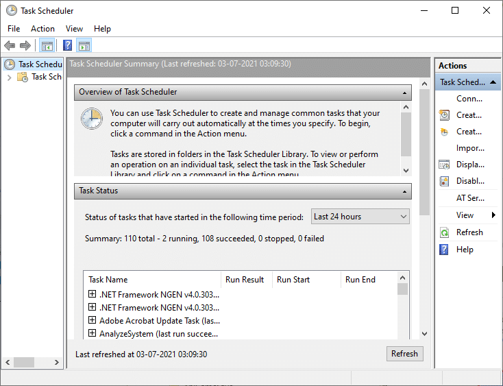 Now, the Task Scheduler windows will open up
