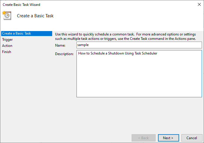 Now, type the name and description of your choice and click on Next. | How To Create Windows 10 Sleep Timer