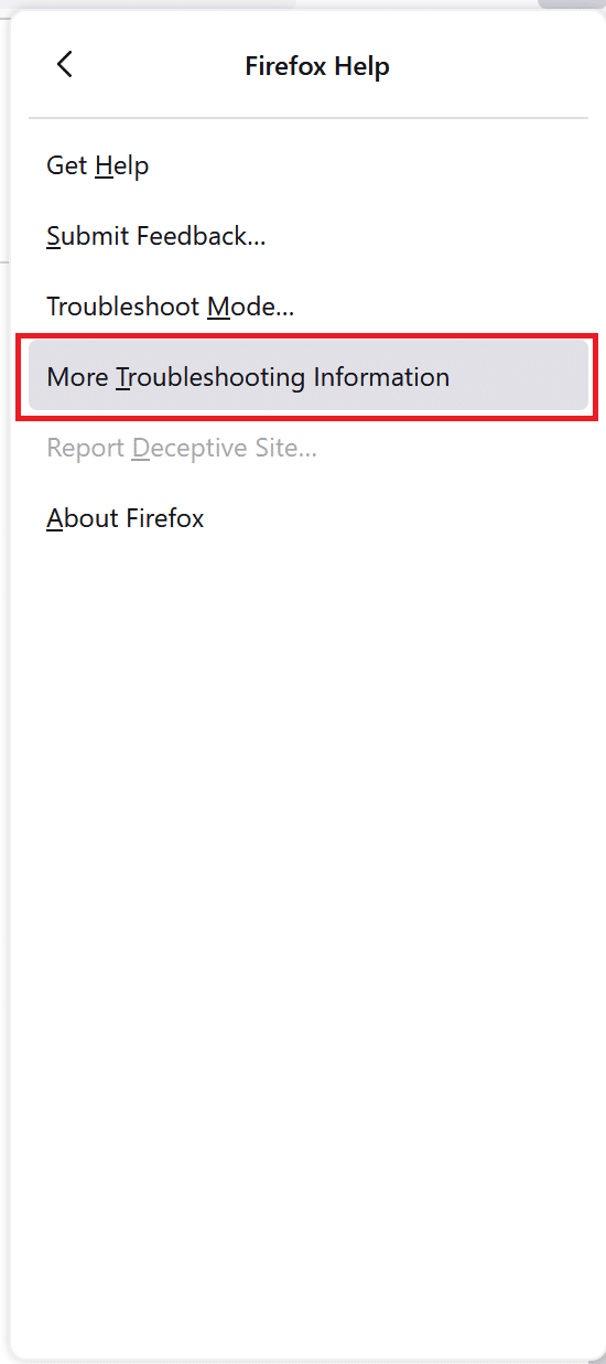 Open firefox troubleshooting page