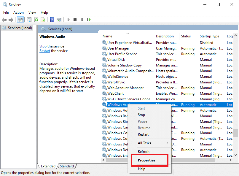 Open the Windows Audio service Properties by double-clicking its icon
