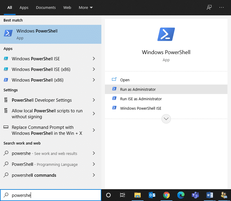 Search Windows PowerShell & run as administrator. Fix Command Prompt Appears then Disappears on Windows 10