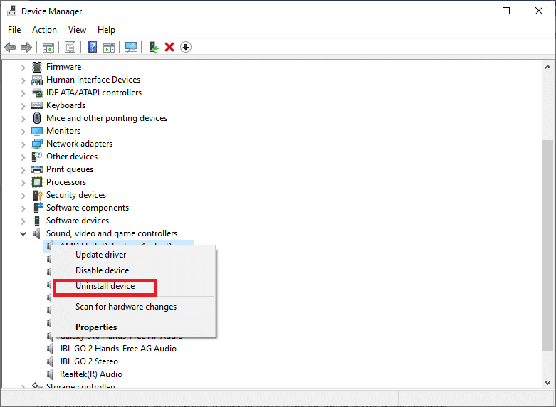 . Right-click on the audio device and choose Uninstall device | Fixed: Discord Picking up Game Audio Error