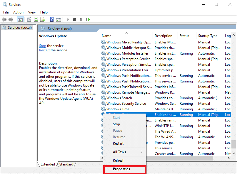 right-click on the Windows Update service and select Properties.