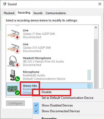 . Right-Click the Stereo Mix option and choose Disable | Fixed: Discord Picking up Game Audio Error
