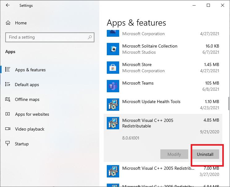 Select Microsoft Visual C++ and click Uninstall