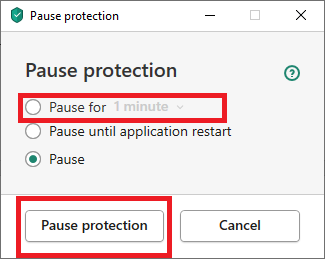 , select Pause Protection again.