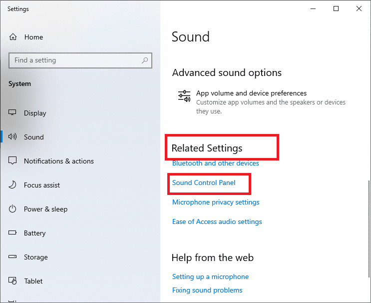 select Related Settings then Sound Control Panel.