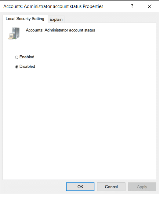 Select the Disable box to disable the setting.