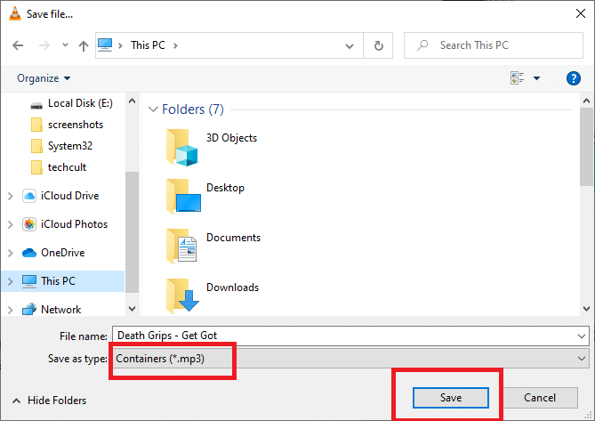 Select the location and then click Save..
