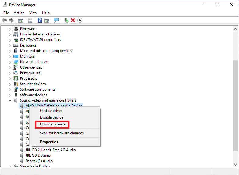 select Uninstall device   Fixed: Volume Mixer Not Opening