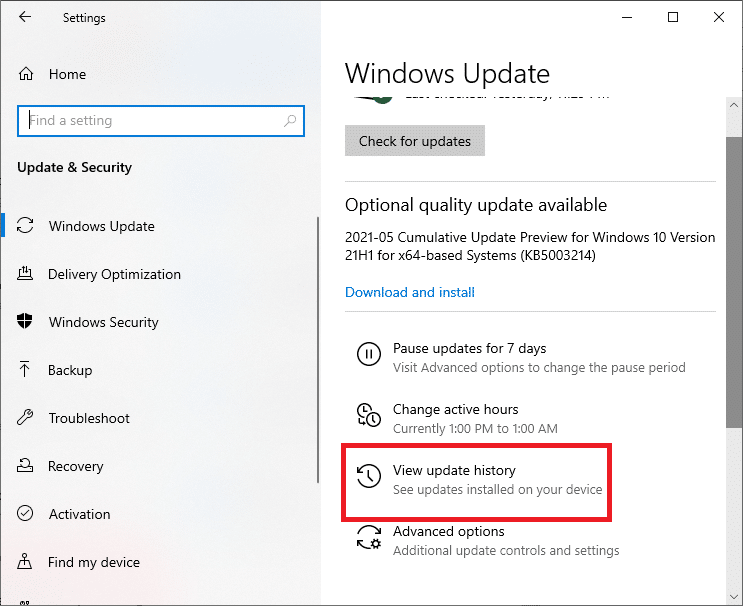 Select View update history located as the third-right option on the right side of the screen.