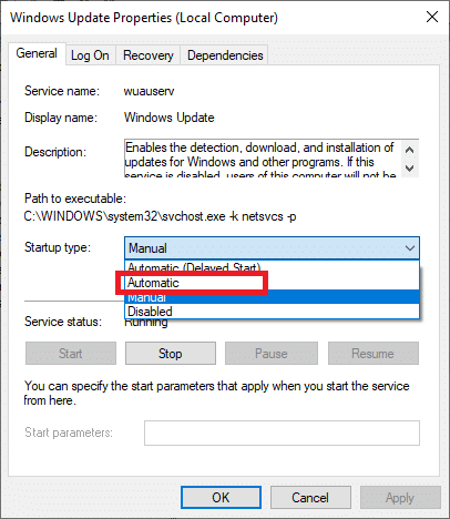 . Set the start-up type to Automatic on the General tab.