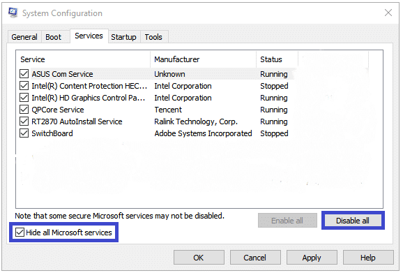 Switch to the Services tab, check to Hide all Microsoft services, and click on Disable all button