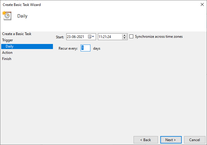 The following window will ask you to set the Start date and time. Fill your Recur every value and click on Next