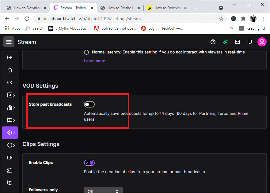 toggle on the Store past broadcasts option located in the VOD settings.