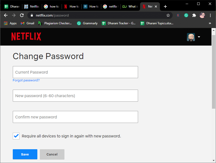 Type your Current password, New password (6-60 characters), and Confirm new password in the fields
