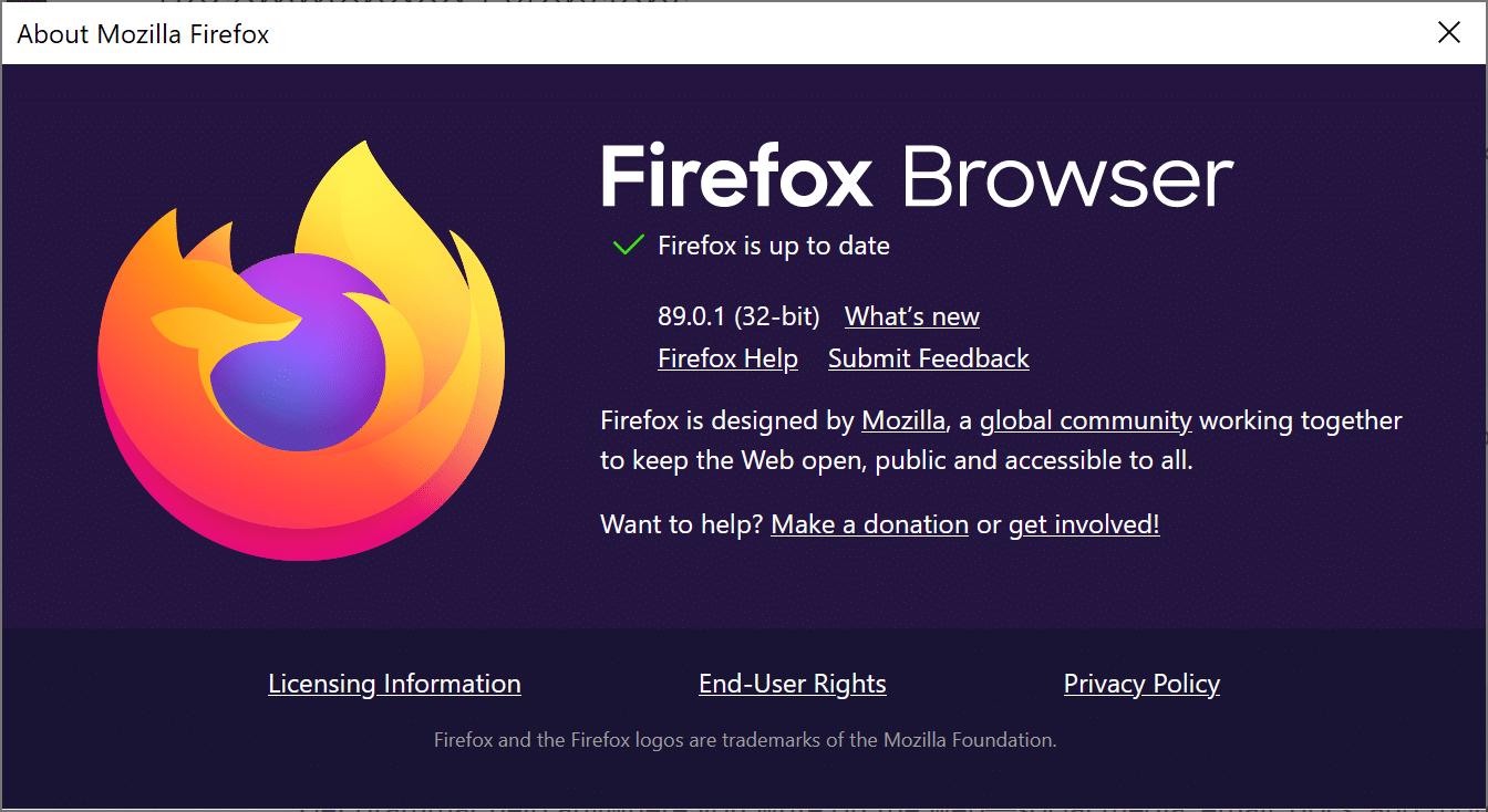 Update Firefox dialogue box