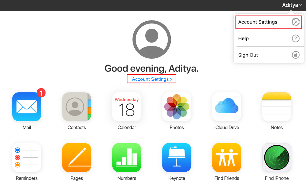 Account Settings on icloud page