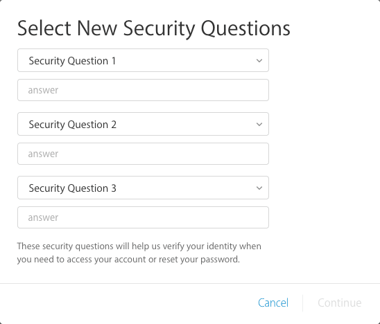 After verifying your date of birth and recovery email address, pick and respond to your security questions