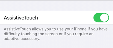 Toggle off Assitive touch iPhone