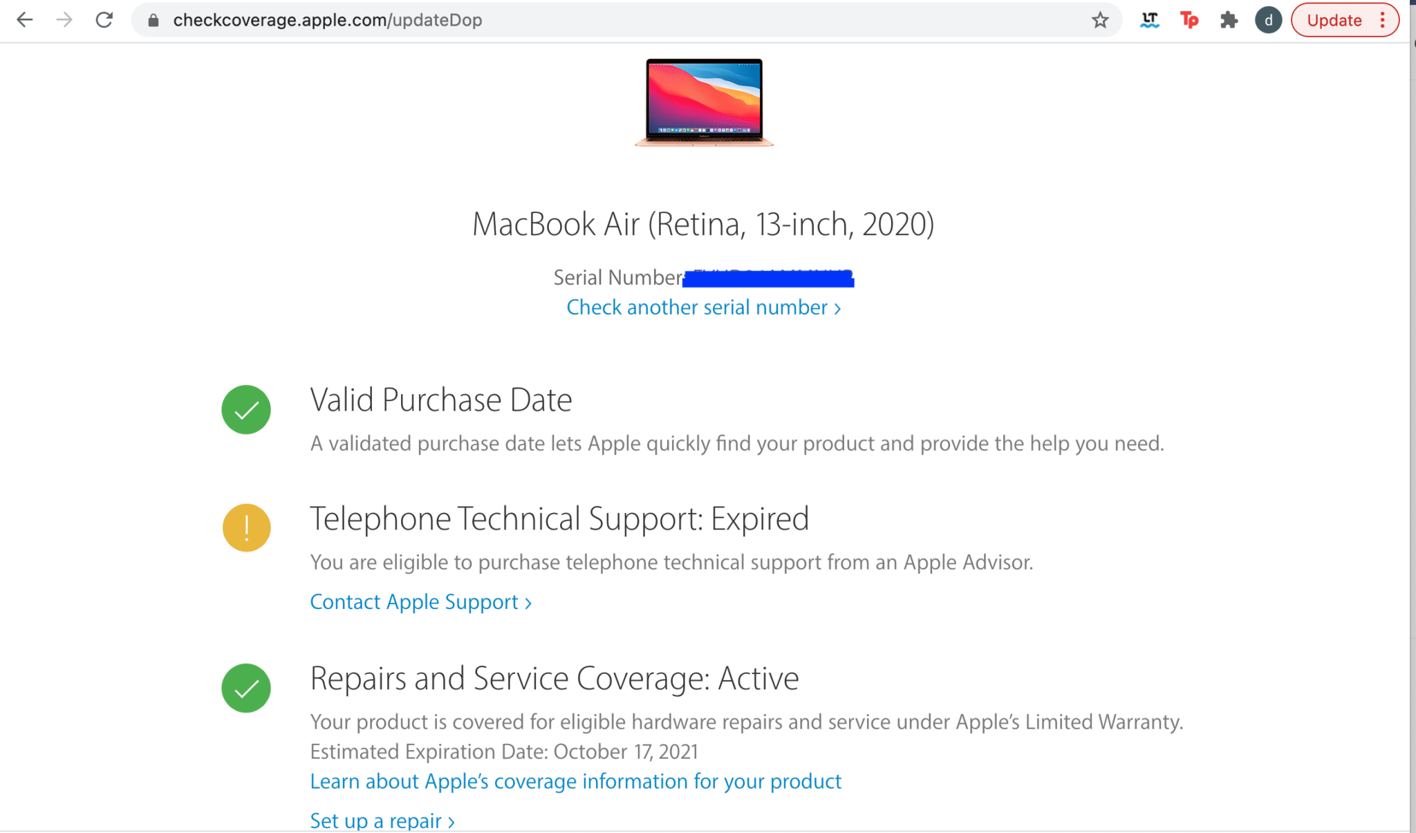 Check if you are eligible for AppleCare, and proceed to purchase | How To Check Apple Warranty Status
