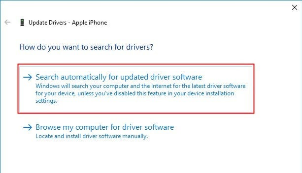 Choose Search manually for new driver apps. iPhone not showing in my computer