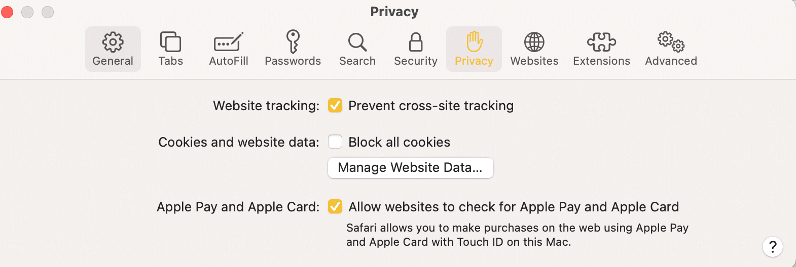 Click Privacy then, manage website data