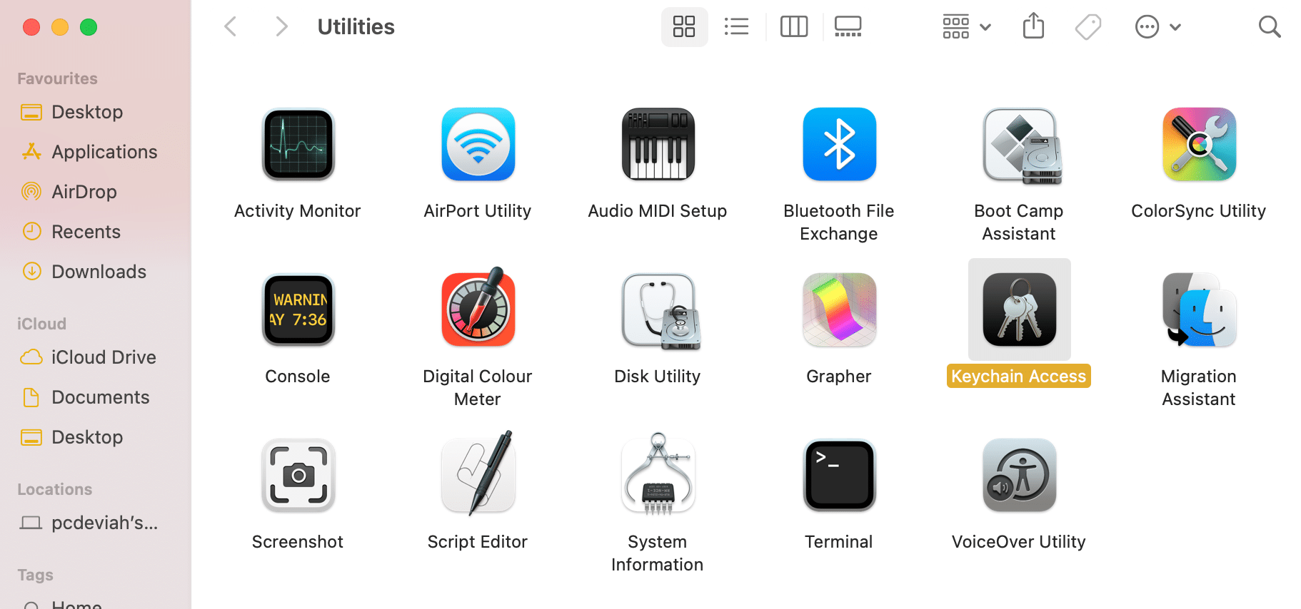Click on Keychain Access. How to use Utilities Folder Mac