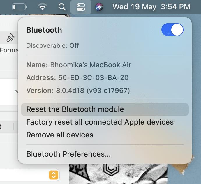 Click on Reset the Bluetooth module | Fix Mac Bluetooth Not Working