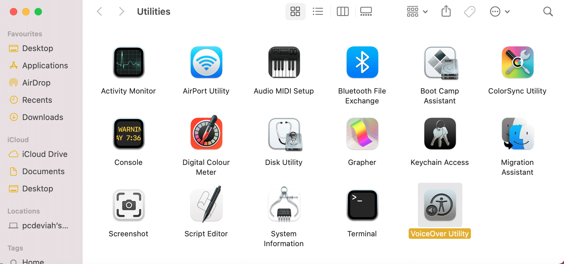 Click on VoiceOver Utility   How To Use Utilities Folder Mac