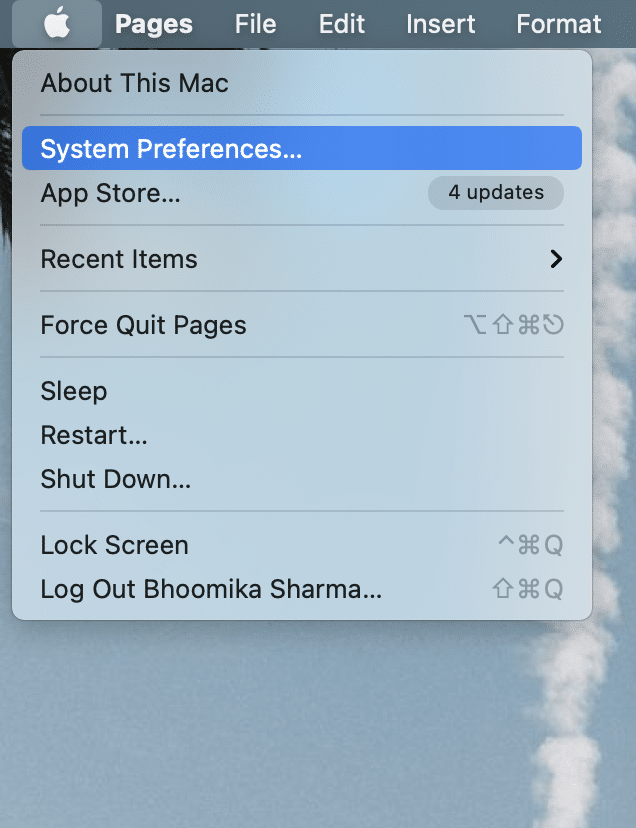 Click on the Apple menu and select System Preferences