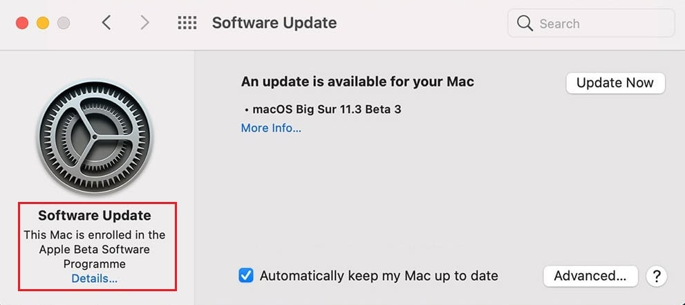 Click on the Details option located under This Mac is enrolled in the Apple Beta Software Program