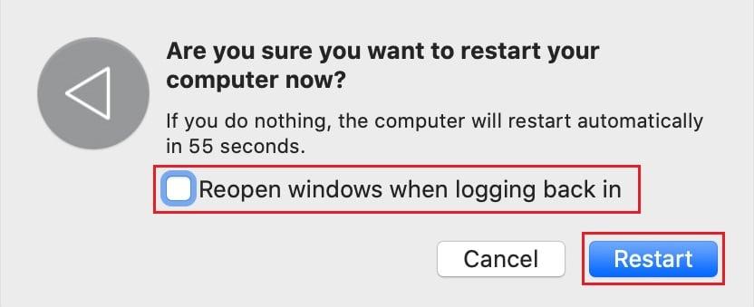 Confirm Mac restart