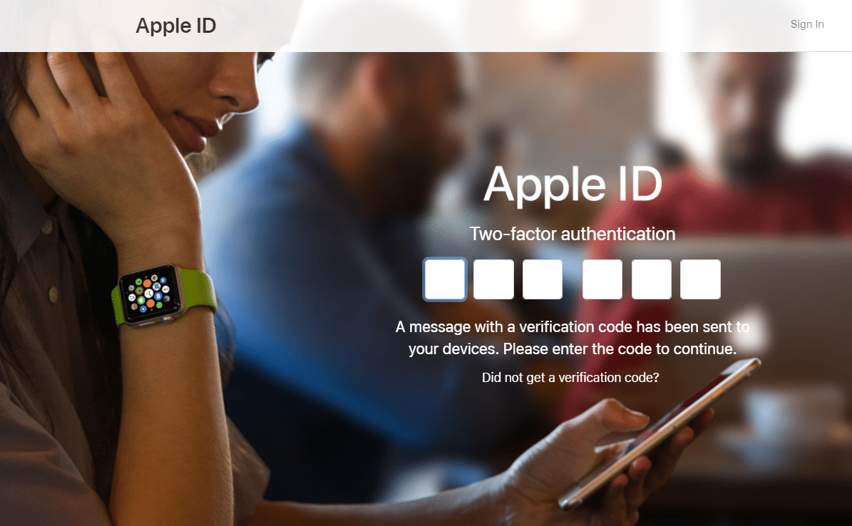 Enter the Apple ID verification codeon the iCloud account page