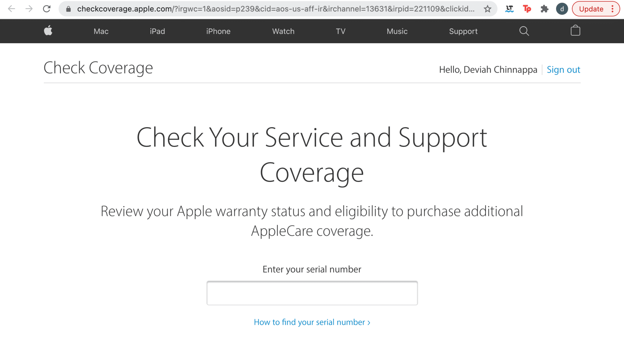 Enter the Serial number of the Apple device. Apple service and support coverage