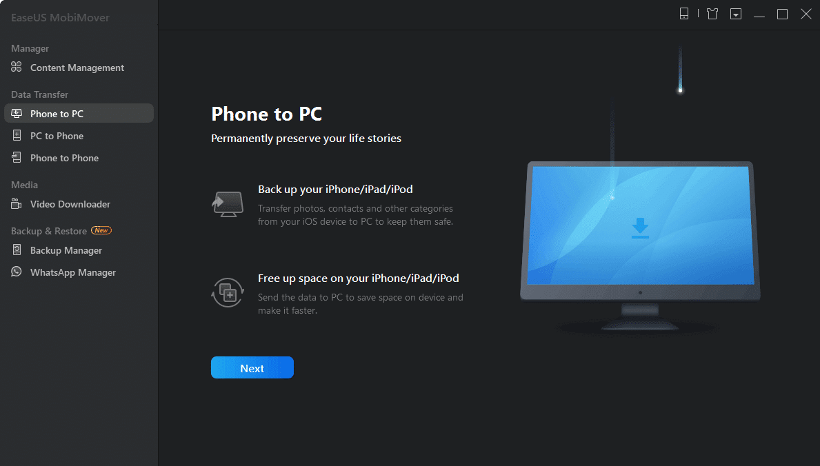 Phone to PC option. Ease US mobiMover. Fix iCloud Photos Not Syncing to PC