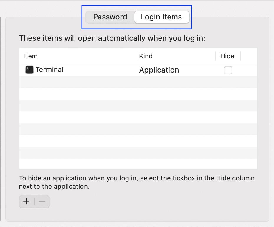 Go to Login Items | Fix Slow Startup Mac