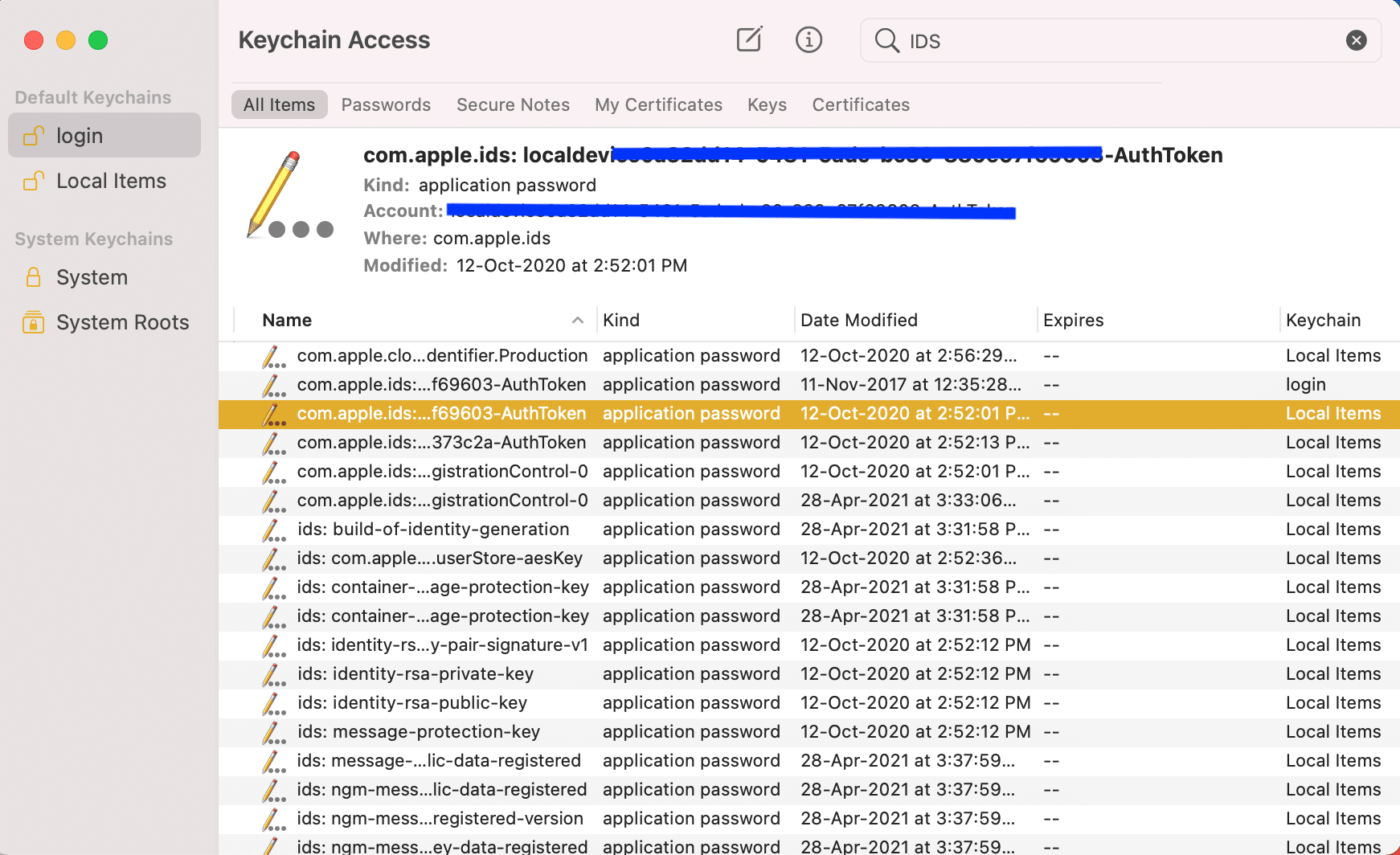 In this list, find your Apple ID file ending with AuthToken. FaceTime activation error