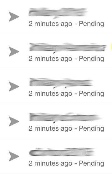 Indicates that your network is not allowing you to send the message. What does Grey Arrow mean on Snapchat