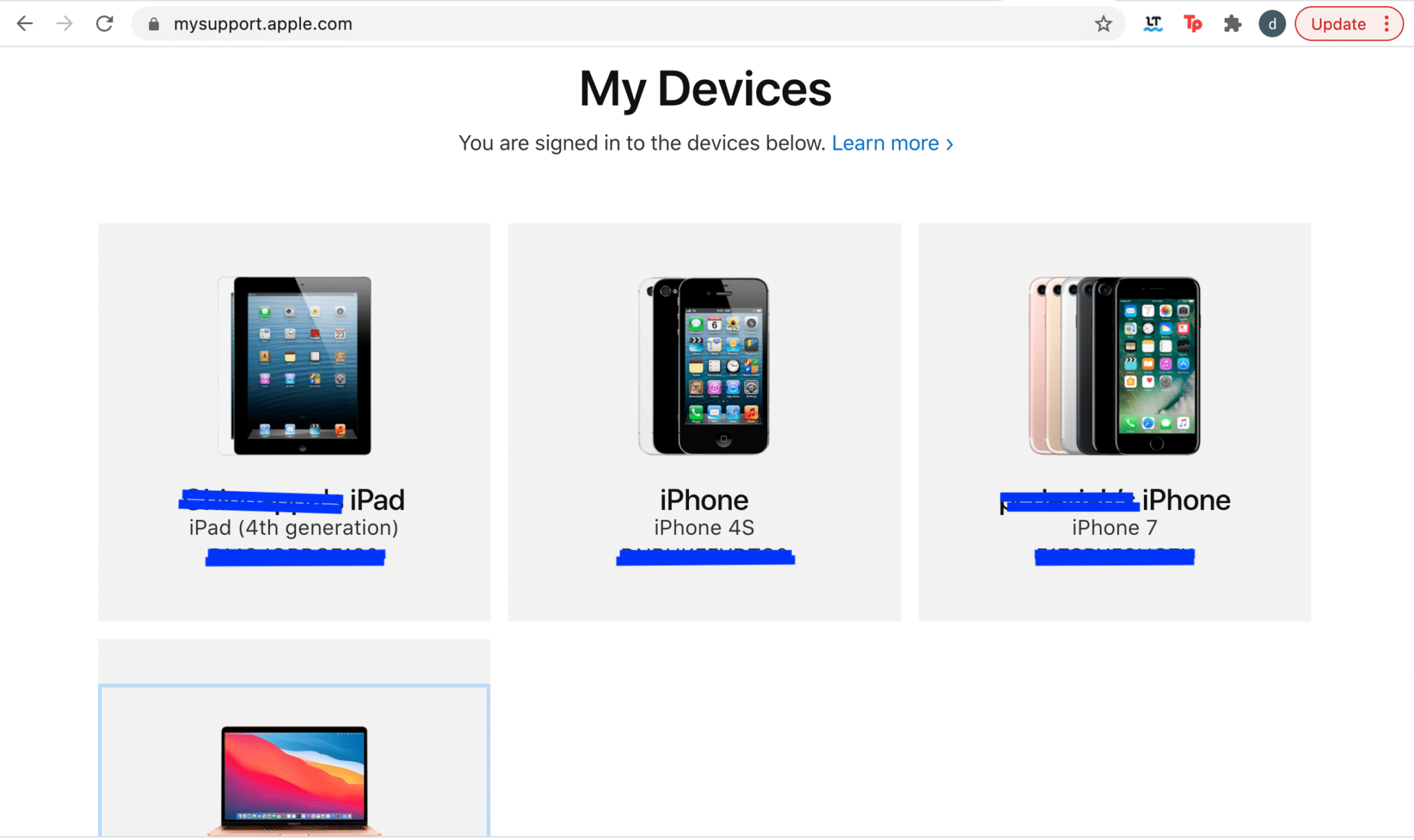List of Apple devices registered under the same Apple ID with which you logged in