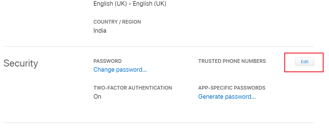 On the Manage page, tap on Edit from the Security section