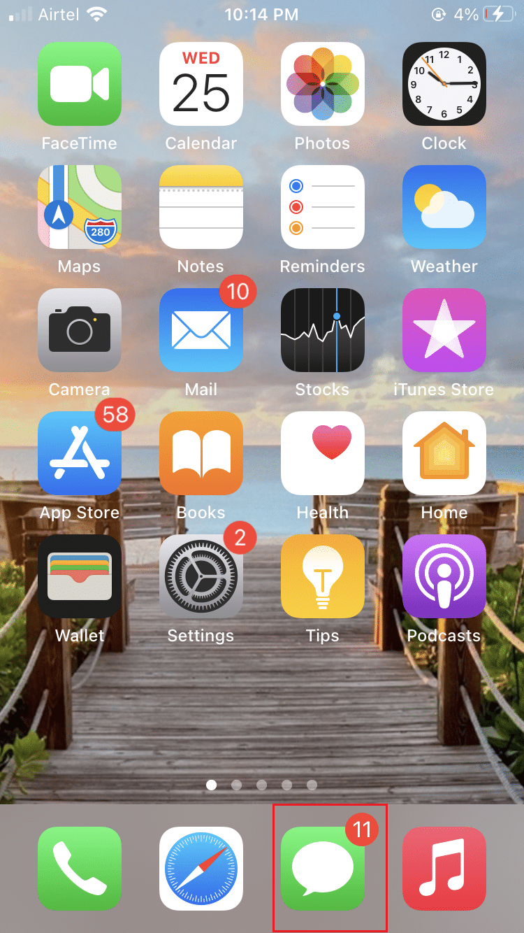 Open the Messages app from the Home screen