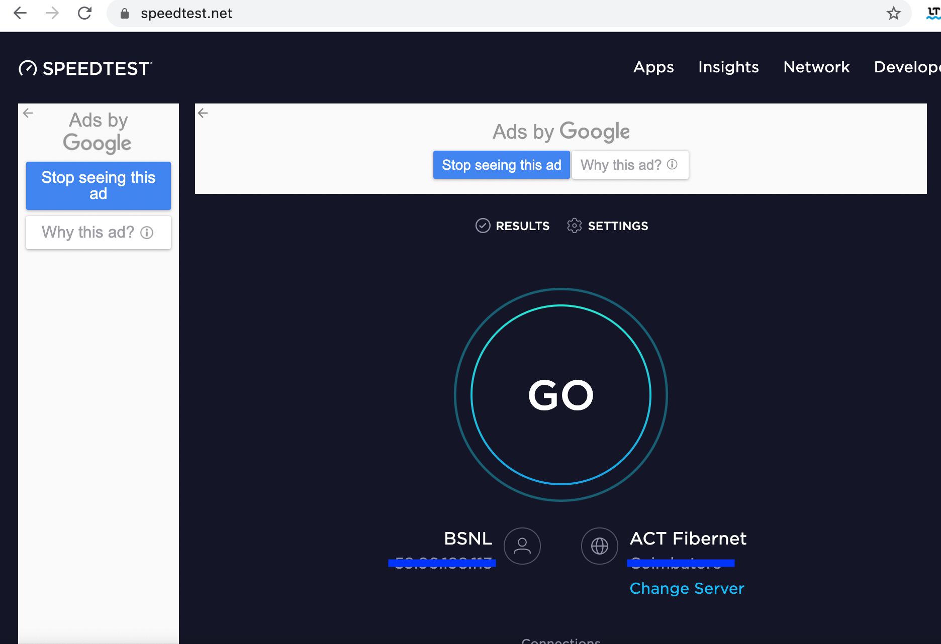 Run a quick internet speed test on speedtest.net to check the strength of your connection